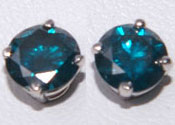 9-10ctw Blue Diamond Stud Earrings