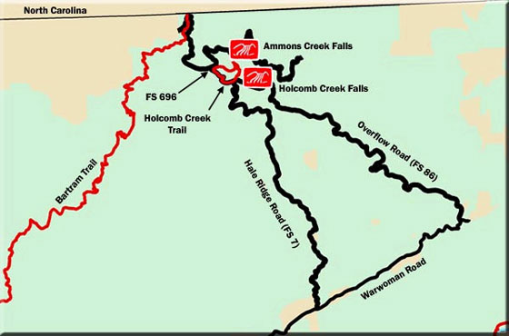 Ammons Holcomb Creek Falls Map