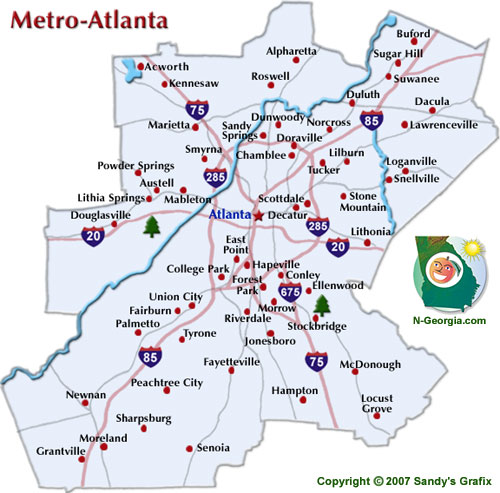 Map Atlanta Ga Area Afputra Com