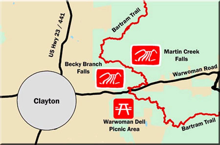 Becky Branch and Martin Creek Falls Waterfalls Map