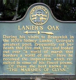 Lanier's Oak Historical Marker in Brunswick GA