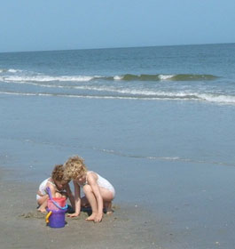 Children playing at Tybee Island Ocean