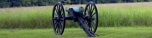 Civil War Cannon in Battleground Field