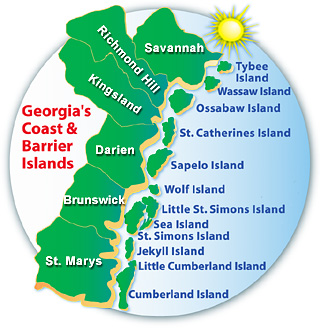 Georgia Coast Barrier Islands Wwwngeorgiacom - Georgia map islands
