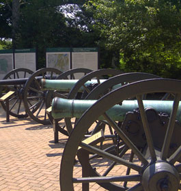 Row of Civil War Cannons