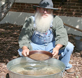 Man gold panning at Dahlonega Gold Museum