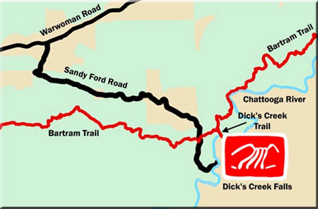 Dick's Creek Falls Waterfall Map