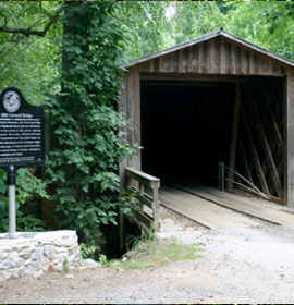 Elder Mill Covered Bridge and marker
