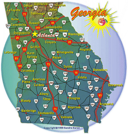 Georgias Cities And Highways Map - Georgia city map
