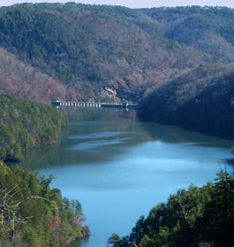 Mountains, Lake and Bridge in Georgia