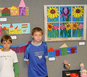 Children's paintings at Harris Arts Center