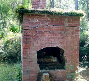 Historic abandoned fireplace at Harris Neck Wildlife Refuge