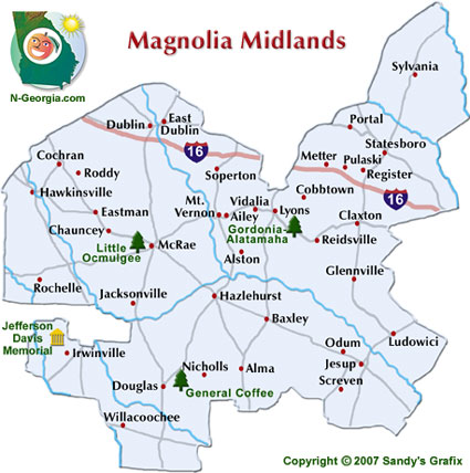 Georgia Magnolia Midlands Travel Region