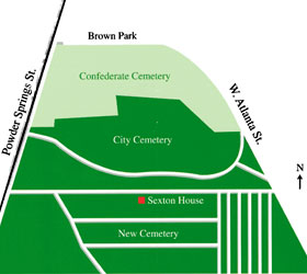 Marietta City and Confederate Cemetery Map