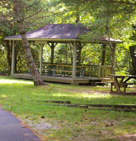 Picnic shelter on path to Bay's Bridge