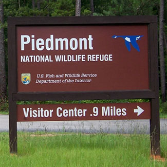 Piedmont National Wildlife Refuge Sign