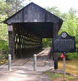 Poole's Mill Covered Bridge entrance and marker