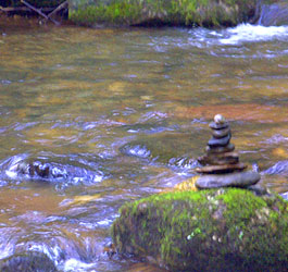 Stacked rocks on GA river
