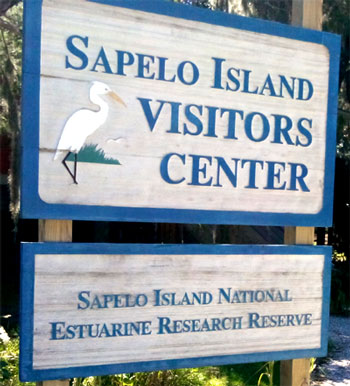 Sapelo Island Visitor Center sign