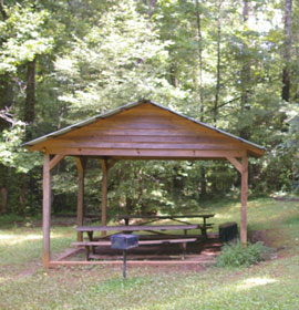 Picnic area at campsite
