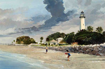 St. Simons Lighthouse Painting by Roger Bansemer