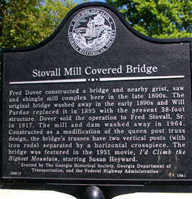 Stovall Mill Covered Bridge Marker