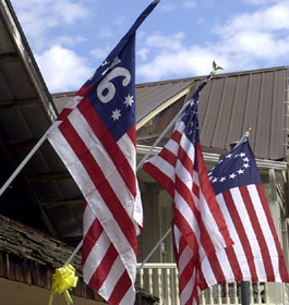 US Flags and Yellow Ribbons