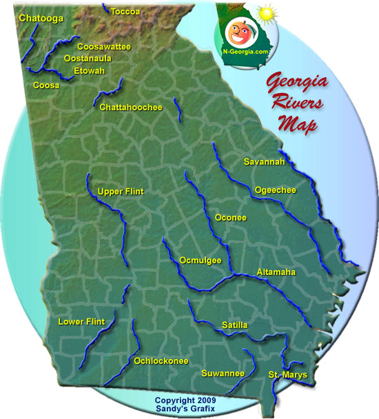 Georgia River Map Georgia Rivers