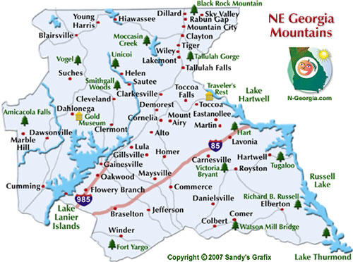 Map Of North Georgia Mountain Towns.Ne Georgia Mountains Fun