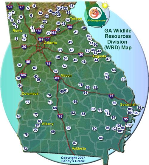 Georgia Wildlife Resources Map on nebraska land maps, georgia hunting license, 511 area public land maps, georgia hunting regions map, ga hunting maps, ga natural resources coal maps, colorado hunting maps, georgia hunting zones map,